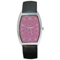 Whirligig Pattern Hand Drawing Pink 01 Barrel Style Metal Watch by Cveti