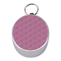 Whirligig Pattern Hand Drawing Pink 01 Mini Silver Compasses by Cveti