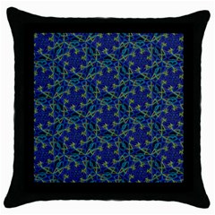 Whirligig Hand Drawing Geometric Pattern Blue Throw Pillow Case (black) by Cveti