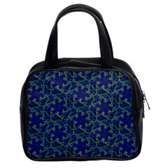 Whirligig Hand Drawing Geometric Pattern Blue Classic Handbags (2 Sides) by Cveti