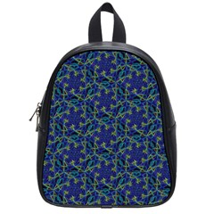 Whirligig Hand Drawing Geometric Pattern Blue School Bag (small) by Cveti