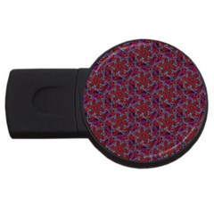 Whirligig Pattern Hand Drawing Red Usb Flash Drive Round (2 Gb) by Cveti