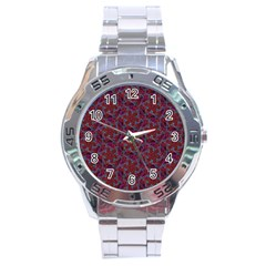 Whirligig Pattern Hand Drawing Red Stainless Steel Analogue Watch by Cveti
