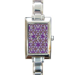 Flower Of Life Hand Drawing Pattern Rectangle Italian Charm Watch by Cveti