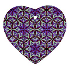 Flower Of Life Hand Drawing Pattern Heart Ornament (two Sides) by Cveti