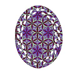 Flower Of Life Hand Drawing Pattern Oval Filigree Ornament (two Sides) by Cveti