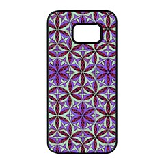 Flower Of Life Hand Drawing Pattern Samsung Galaxy S7 Edge Black Seamless Case by Cveti