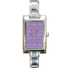 Star Tetrahedron Hand Drawing Pattern Purple Rectangle Italian Charm Watch by Cveti