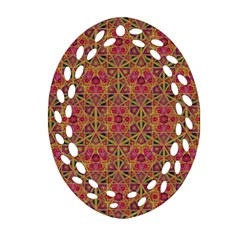Star Tetrahedron Pattern Red Oval Filigree Ornament (two Sides) by Cveti