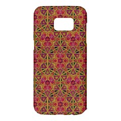 Star Tetrahedron Pattern Red Samsung Galaxy S7 Edge Hardshell Case by Cveti