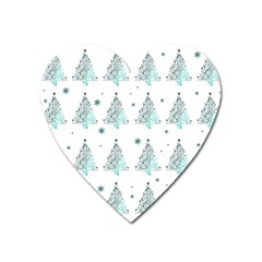 Christmas Tree   Pattern Heart Magnet by Valentinaart