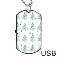 Christmas Tree   Pattern Dog Tag Usb Flash (two Sides) by Valentinaart