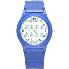 Christmas Tree   Pattern Round Plastic Sport Watch (s) by Valentinaart