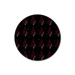 Christmas Tree   Pattern Rubber Coaster (round)  by Valentinaart