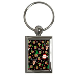 Santa And Rudolph Pattern Key Chains (rectangle)  by Valentinaart