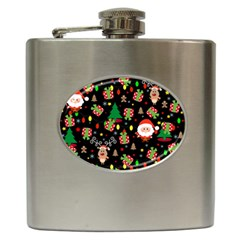 Santa And Rudolph Pattern Hip Flask (6 Oz) by Valentinaart