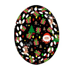Santa And Rudolph Pattern Oval Filigree Ornament (two Sides) by Valentinaart