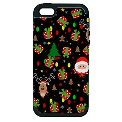 Santa And Rudolph Pattern Apple Iphone 5 Hardshell Case (pc+silicone) by Valentinaart