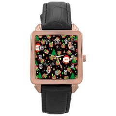 Santa And Rudolph Pattern Rose Gold Leather Watch  by Valentinaart