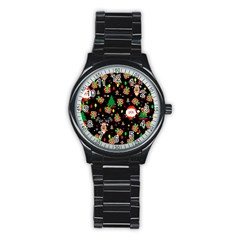 Santa And Rudolph Pattern Stainless Steel Round Watch by Valentinaart