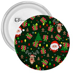 Santa And Rudolph Pattern 3  Buttons by Valentinaart