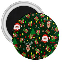 Santa And Rudolph Pattern 3  Magnets by Valentinaart
