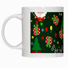 Santa And Rudolph Pattern White Mugs by Valentinaart