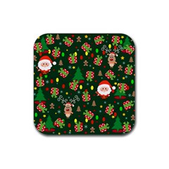 Santa And Rudolph Pattern Rubber Coaster (square)  by Valentinaart