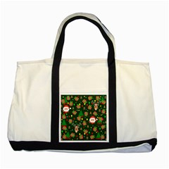 Santa And Rudolph Pattern Two Tone Tote Bag by Valentinaart