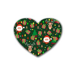 Santa And Rudolph Pattern Rubber Coaster (heart)  by Valentinaart