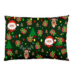 Santa And Rudolph Pattern Pillow Case by Valentinaart