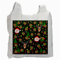 Santa And Rudolph Pattern Recycle Bag (two Side)  by Valentinaart