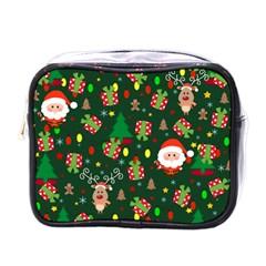 Santa And Rudolph Pattern Mini Toiletries Bags by Valentinaart