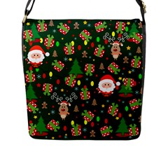 Santa And Rudolph Pattern Flap Messenger Bag (l)  by Valentinaart