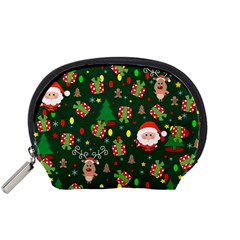 Santa And Rudolph Pattern Accessory Pouches (small)  by Valentinaart