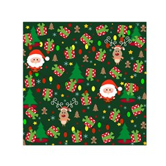 Santa And Rudolph Pattern Small Satin Scarf (square) by Valentinaart