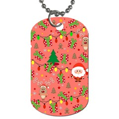 Santa And Rudolph Pattern Dog Tag (one Side) by Valentinaart