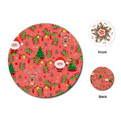 Santa And Rudolph Pattern Playing Cards (round)  by Valentinaart