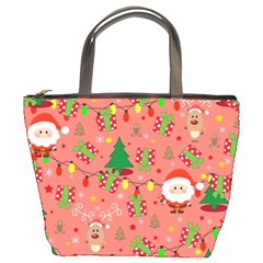 Santa And Rudolph Pattern Bucket Bags by Valentinaart