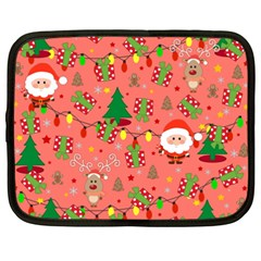 Santa And Rudolph Pattern Netbook Case (xxl)  by Valentinaart