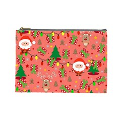 Santa And Rudolph Pattern Cosmetic Bag (large)  by Valentinaart