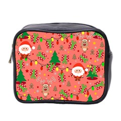 Santa And Rudolph Pattern Mini Toiletries Bag 2 Side by Valentinaart