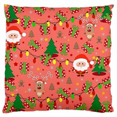 Santa And Rudolph Pattern Large Cushion Case (two Sides) by Valentinaart