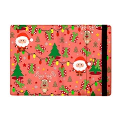 Santa And Rudolph Pattern Apple Ipad Mini Flip Case by Valentinaart