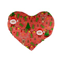 Santa And Rudolph Pattern Standard 16  Premium Flano Heart Shape Cushions by Valentinaart