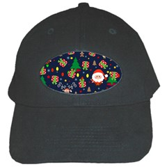 Santa And Rudolph Pattern Black Cap by Valentinaart