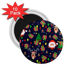 Santa And Rudolph Pattern 2 25  Magnets (10 Pack)  by Valentinaart