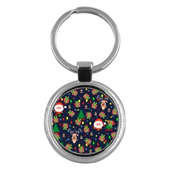 Santa And Rudolph Pattern Key Chains (round)  by Valentinaart