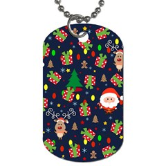 Santa And Rudolph Pattern Dog Tag (two Sides) by Valentinaart