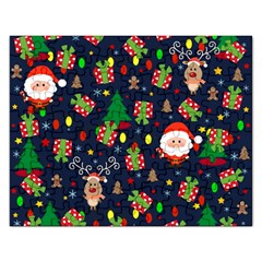 Santa And Rudolph Pattern Rectangular Jigsaw Puzzl by Valentinaart